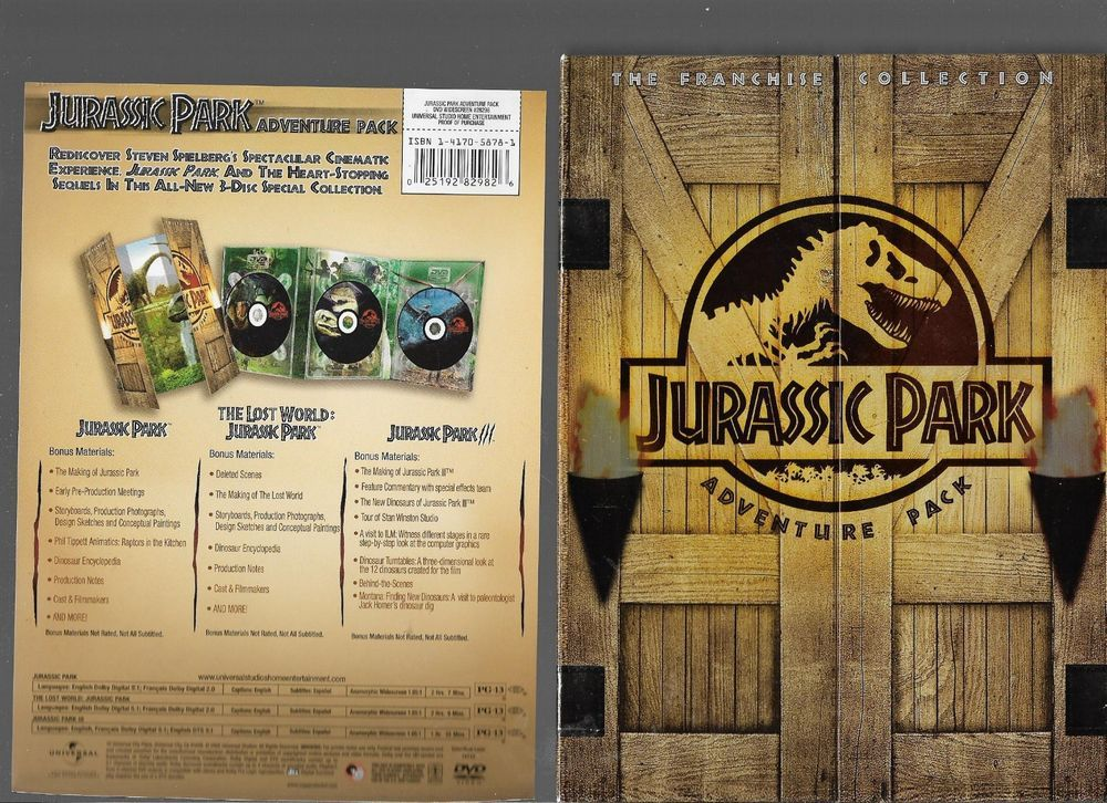 Jurassic Park Adventure Pack The Franchise Collection Dvd 3
