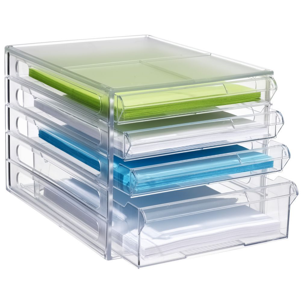 JBurrows Desktop File Storage Organiser 4 Drawer Clear Drawers