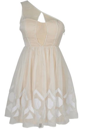 Ivory Mirage White Chiffon Overlay Designer Dress