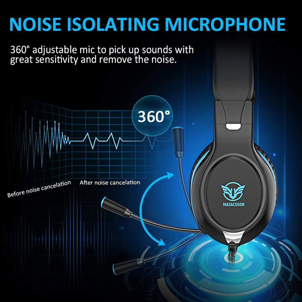 Pobon Gaming Headset for Mac/PC/Smart Phones/iPad, Noise