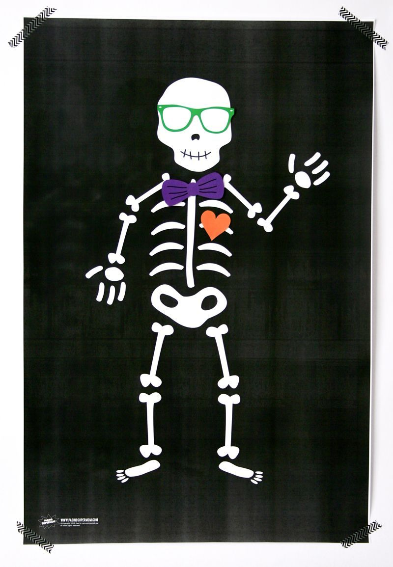 Pin a Bowtie on the Skeleton Game is part of Halloween games for kids, Birthday halloween party, Halloween skeletons, Halloween party, Classroom halloween party, Halloween preschool - Remember our felt Pin the Heart on the Skeleton game from a few years ago  He's SO cute, but we     Read morePin a Bowtie on the Skeleton Game