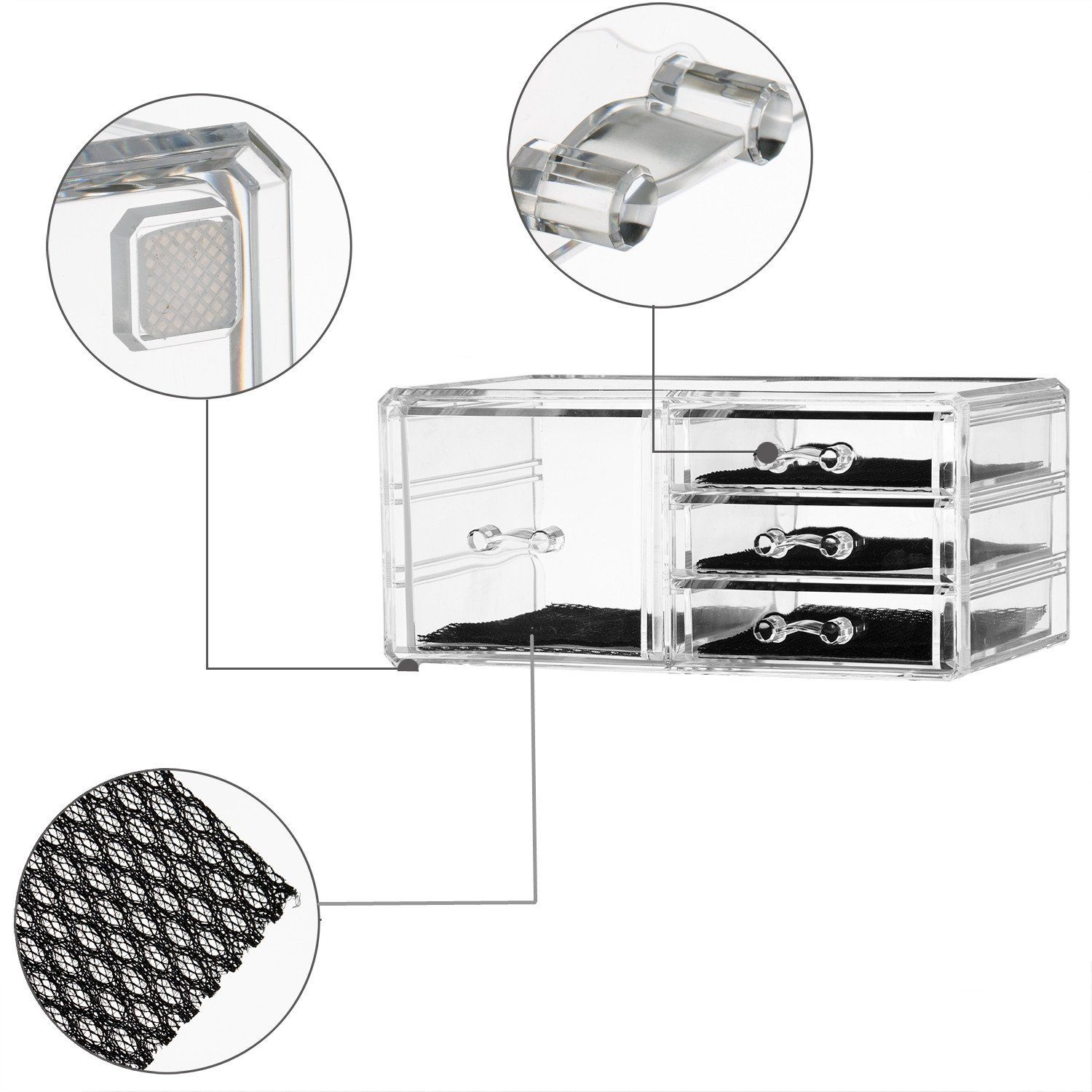 Felicite Home Acrylic Jewelry And Cosmetic Storage Makeup Organizer Set1