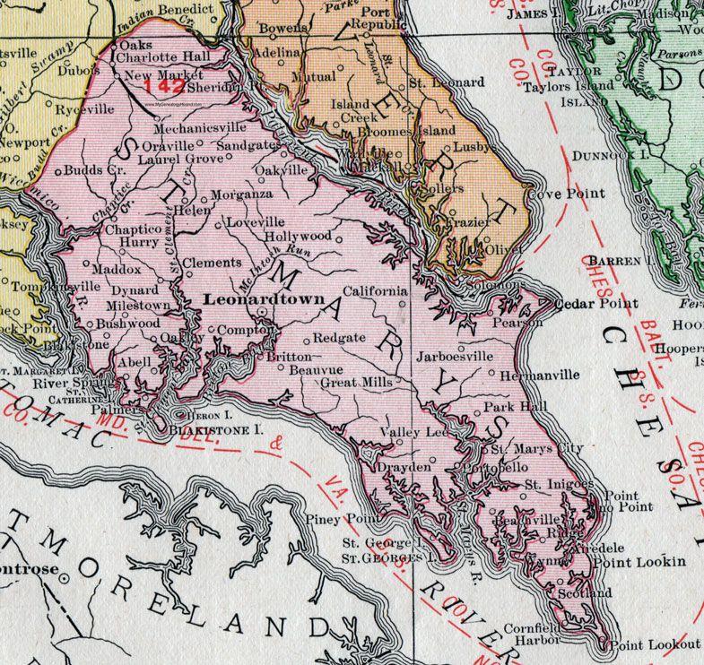 Map Of California Md.St Mary S County Maryland Map 1911 Rand Mcnally Leonardtown