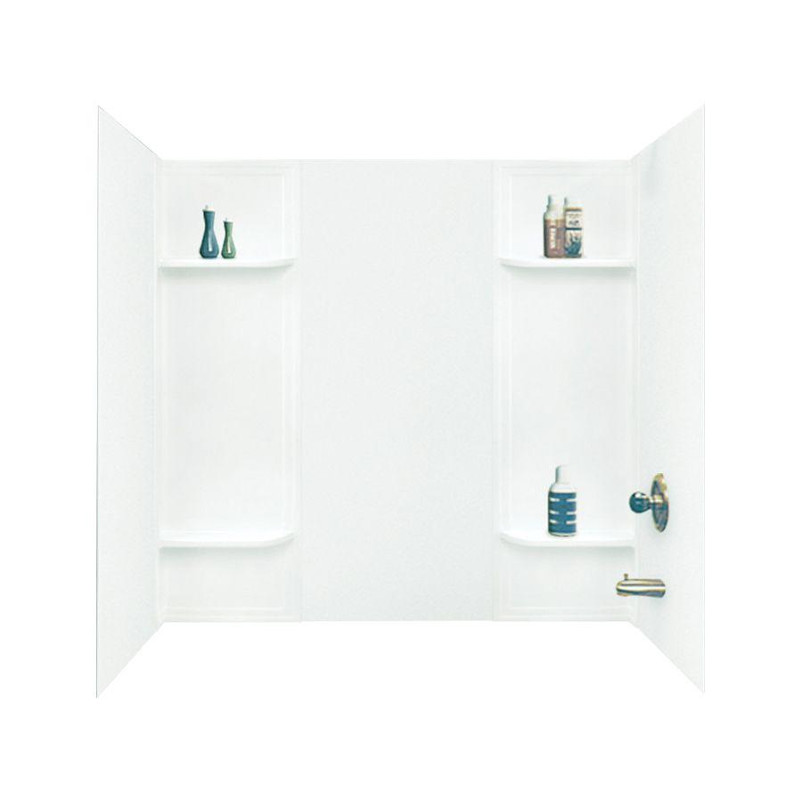 Mustee Durawall White Fiberglass/Plastic Composite Bathtub Wall ...