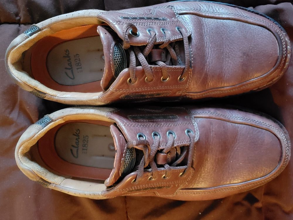 Clarks 1825 mens brown leather lace up casual shoes size