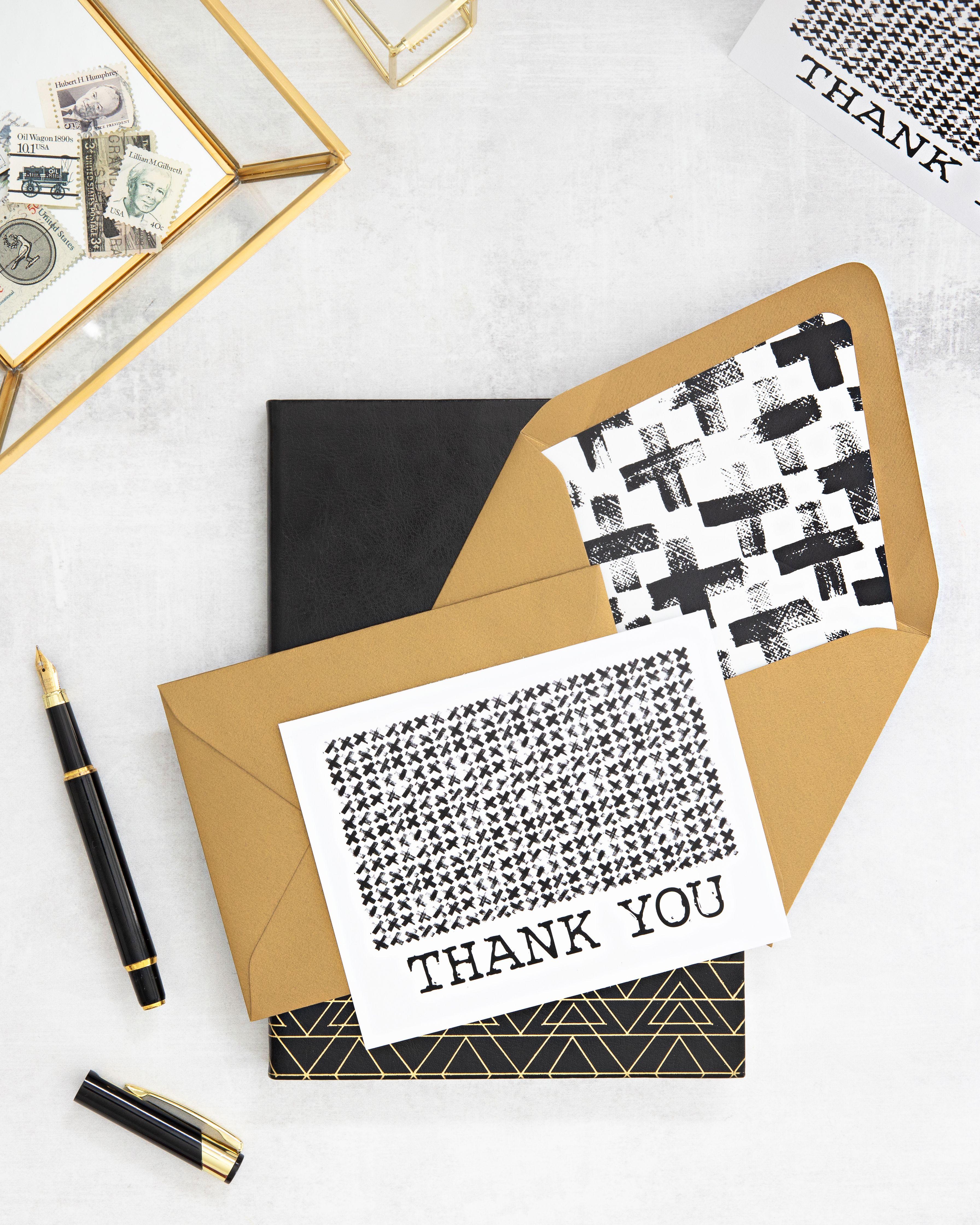 Edgy Black White Thank You Card Coll