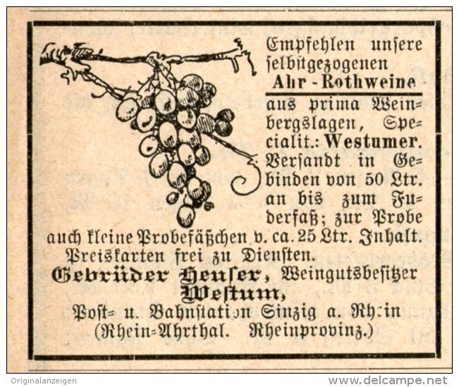 Original-Werbung/Inserat/ Anzeige 1891 - WESTUMER AHR-ROTWEINE / WEINGUT GEBR.HEUSER - ca. 50 x 45 mm