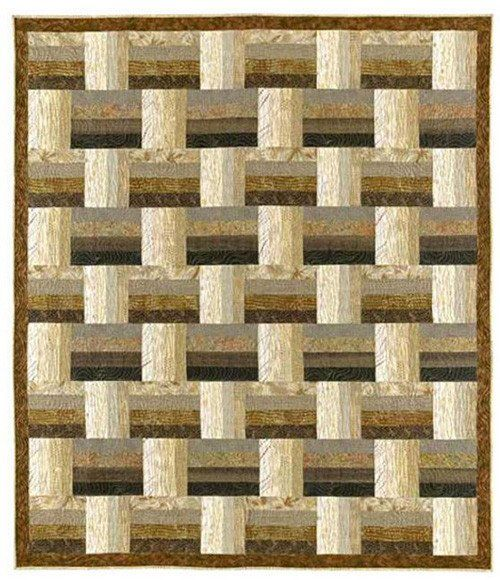 "This quick-cut and strip pieced design is elegant in its simplicity. Three sizes included: 50"" x 50"" 66"" x 76"" 82"" x 92"""