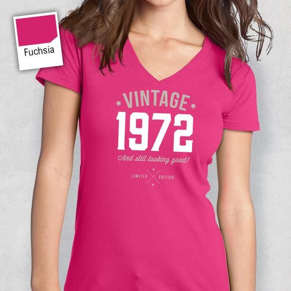 45th Birthday 1972 V Neck Idea Present Or Gift For The Lucky 45 Year Old