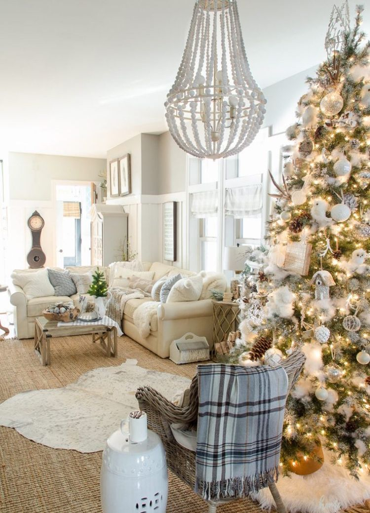 Vintage Weihnachten Nostalgie Weiss Hell Wohnzimmer Weihnachtsbaum Lichter # Weihnachtsdeko #ideen #christmasdecoration