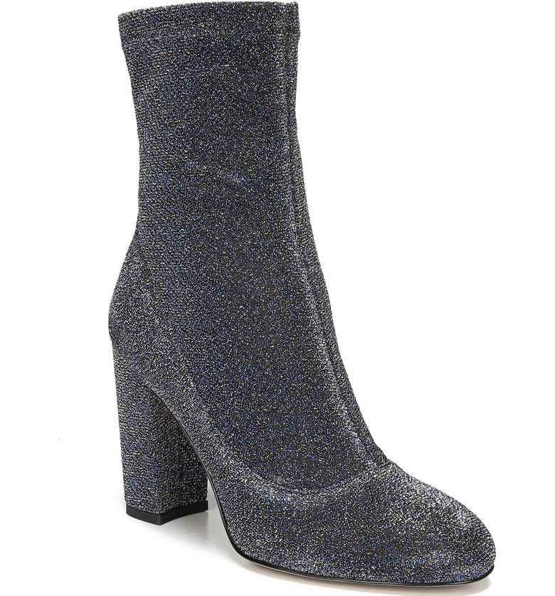 Sam Edelman Calexa Block Heel Boot(Women's) -Blue Gold Fabric Low Price Cheap Online W8juv3j