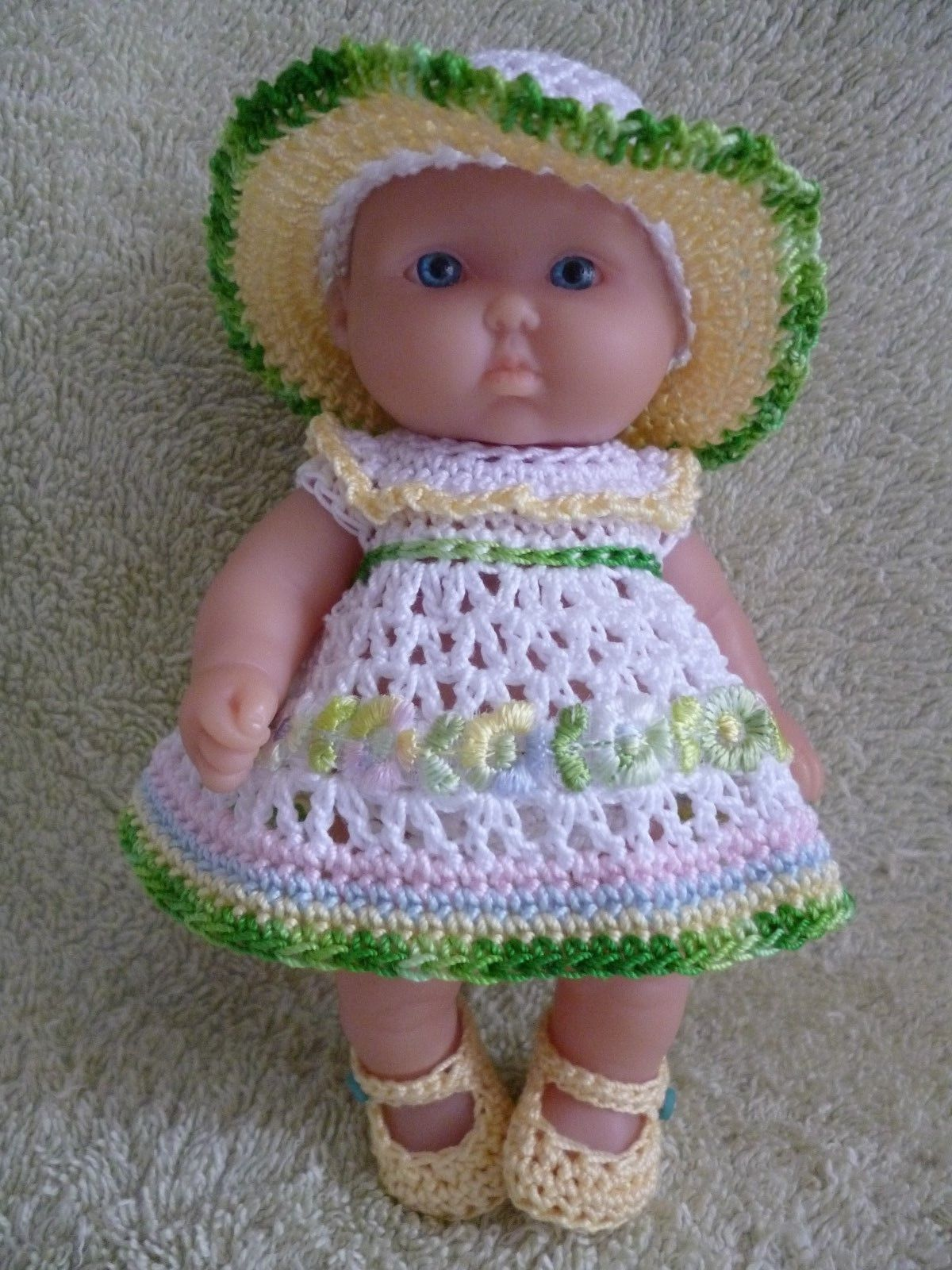 Hand crochet by myself in a smoke free home. White dress trimmed multi colour. Doll NOT included. | eBay!