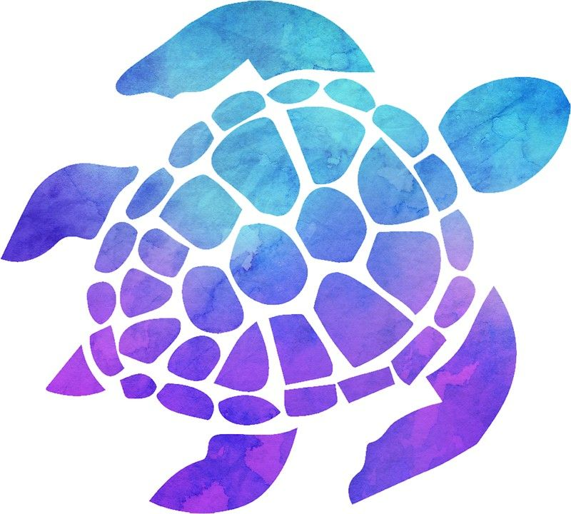 Sea Turtle Watercolor Blue And Purple Sticker By Livpaigedesigns