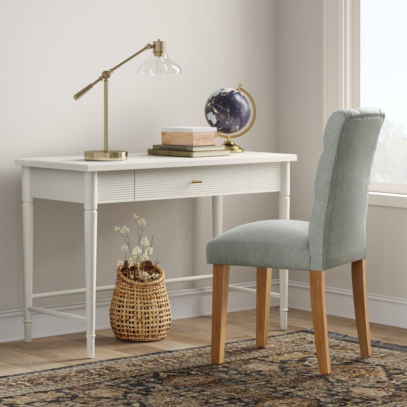 Cambridge Turned Leg Desk Ivory Threshold Image 2 Of 4 Desk With Drawers Writing Desk With Drawers Wood Writing Desk