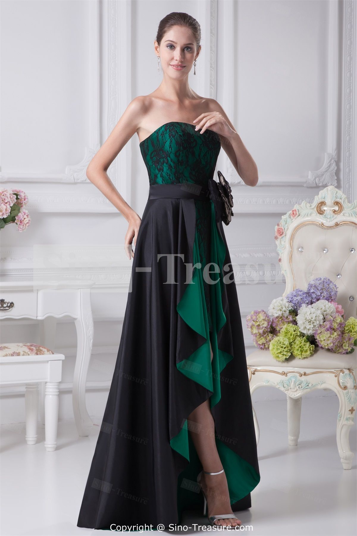 Wonderful Hunter Green/ Black Asymmetrical Taffeta/ Lace Prom ...