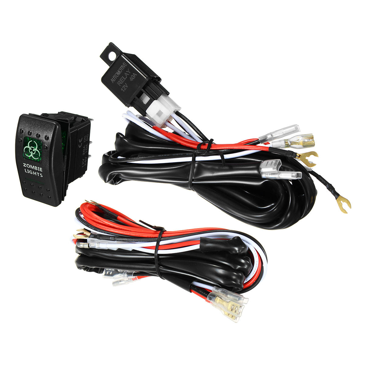 waterproof led illuminated backlit rocker switch relay fuse wiring kit suv 4wd [ 1200 x 1200 Pixel ]