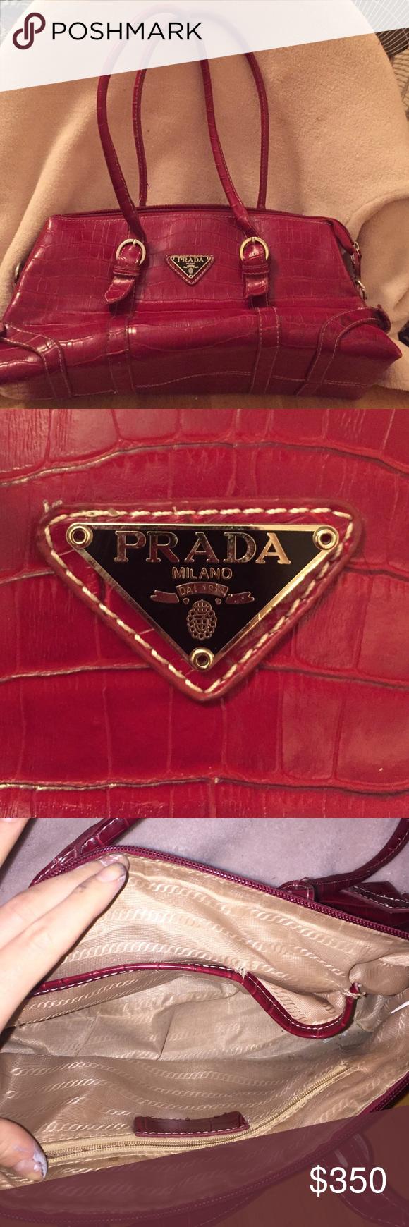 Prada Milano Purse Red Good Condition Bags