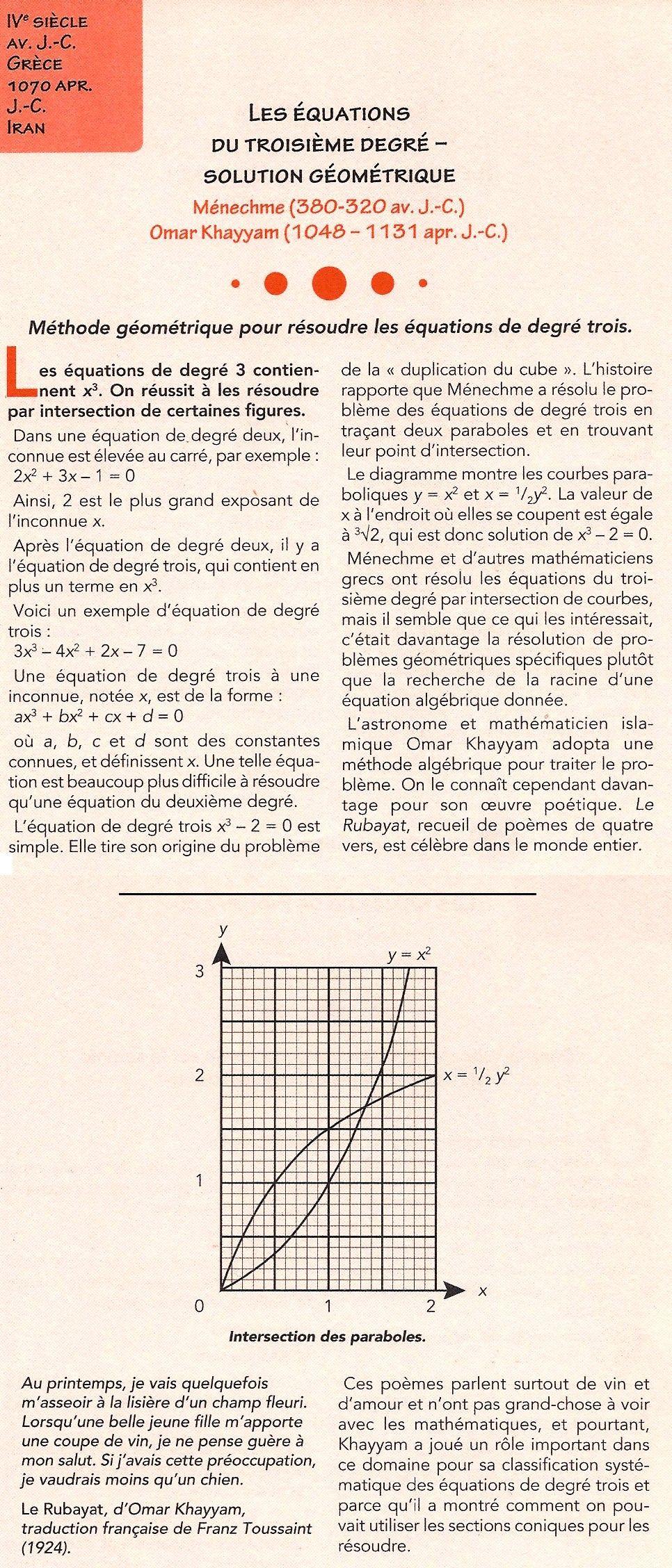 032 - Les équations du troisième degré - Solution géométrique