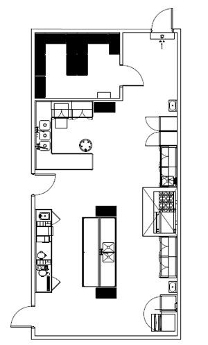 905 Square Foot Religious Facility commercial kitchen plan.