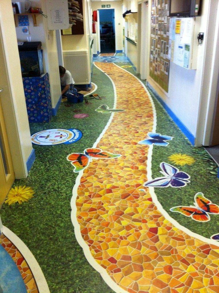 Custom Printed Vinyl Pvc Floor For A School Yellow Brick Road