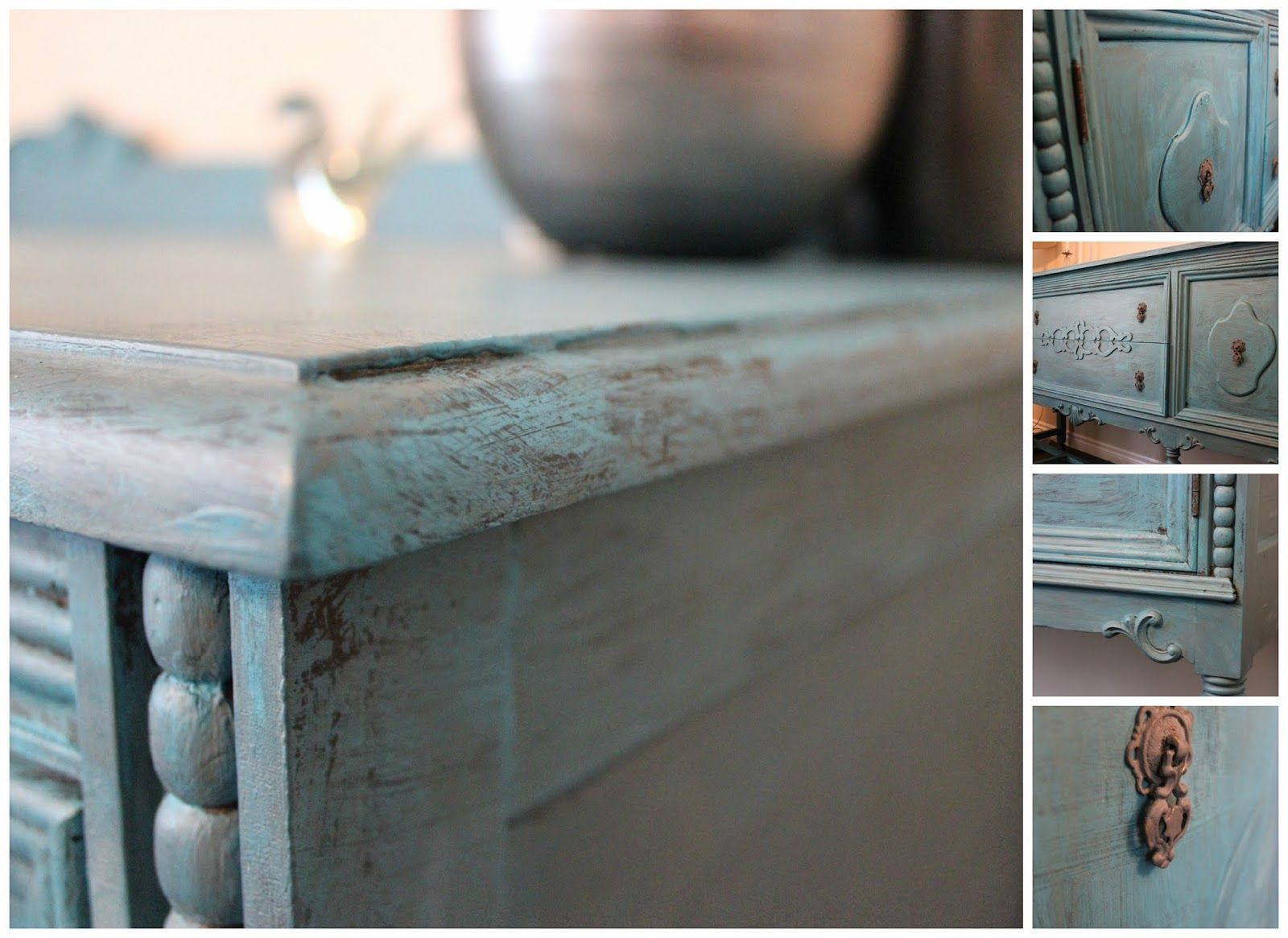 Slightly Hippie Housewife Of Suburbia: Chalk Painted DIY Antique Sideboard  #Makeover #DecoArt