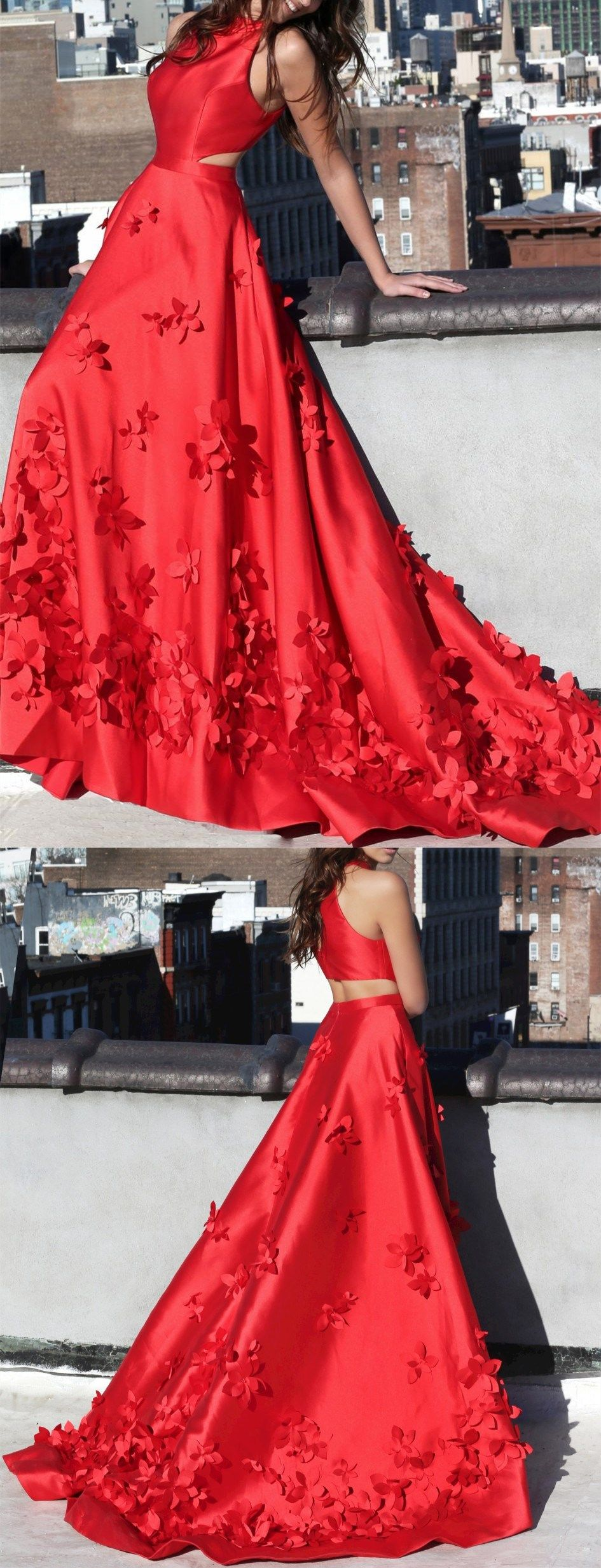 Red prom dresses aline sweep train handmade flower long chic prom