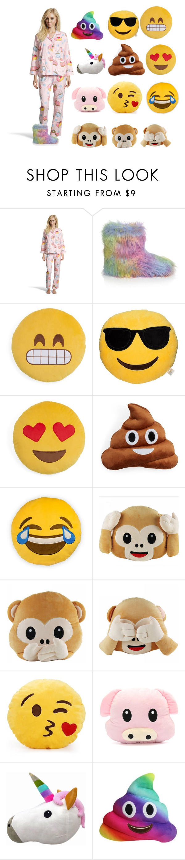 """""""Emoji Bedtime 😎😬😍😘💩🙉🙊🙈🐷🦄"""" by obsessedbug ❤ liked on Polyvore featuring Aegean Apparel and Throwboy"""