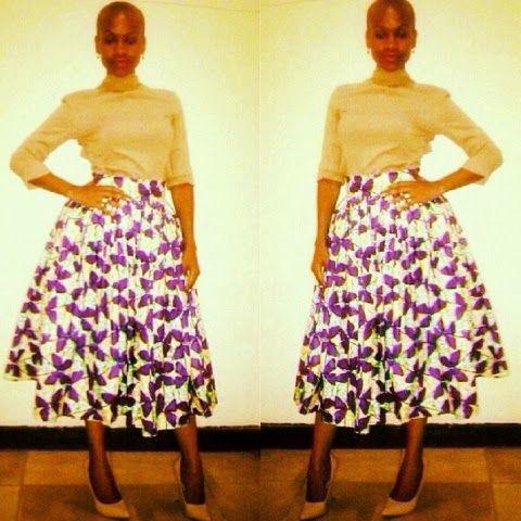 Kiki's Fashion: Brenda in Kiki's Fashion African print flared skir...