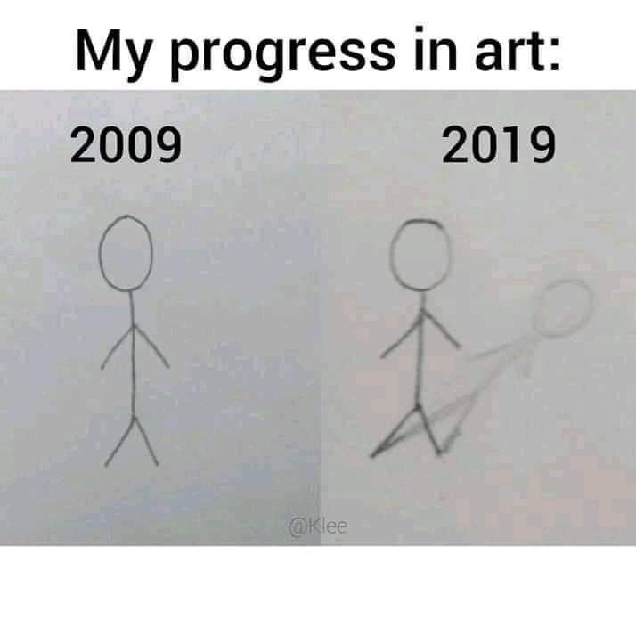 Best Funny Drawings Silly Memes And Tweets (40 Funny Pics) Text - My progress in art: 2019 2009 @Klee 9