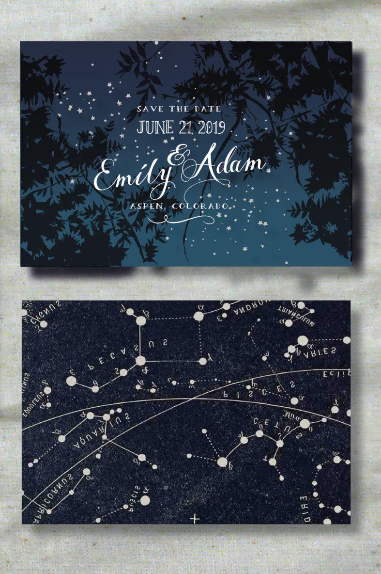 Moon wedding save the date postcard Romantic starry night save the date printed PRINTED