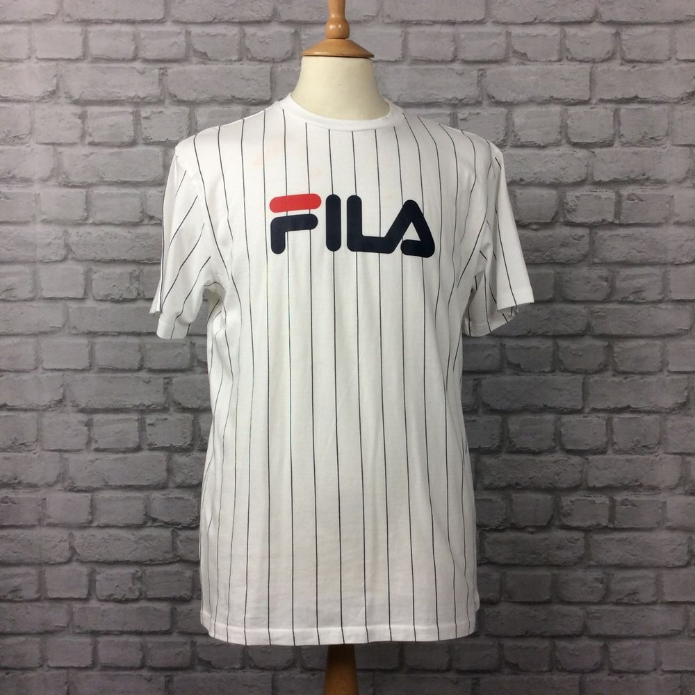 FILA MENS UK M GREGOR STRIPE T-SHIRT WHITE NAVY STRIPED ...