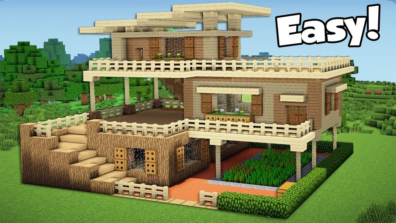 Minecraft How To Build A Large Starter House Tutorial 2 Youtube Minecraft House Tutorials Easy Minecraft Houses Minecraft Starter House
