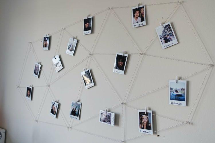 Polaroid Fotos Deko Geometrisch Muster Netz Garn Diy