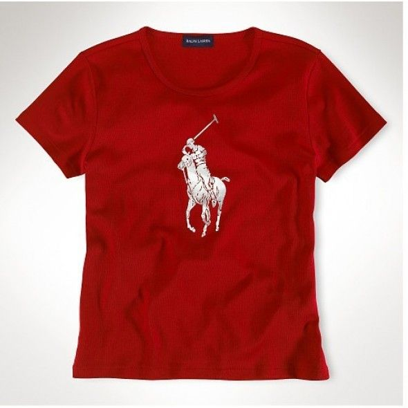 Ralph Lauren Refined Logo Red Fashion Breathable Short Sleeved