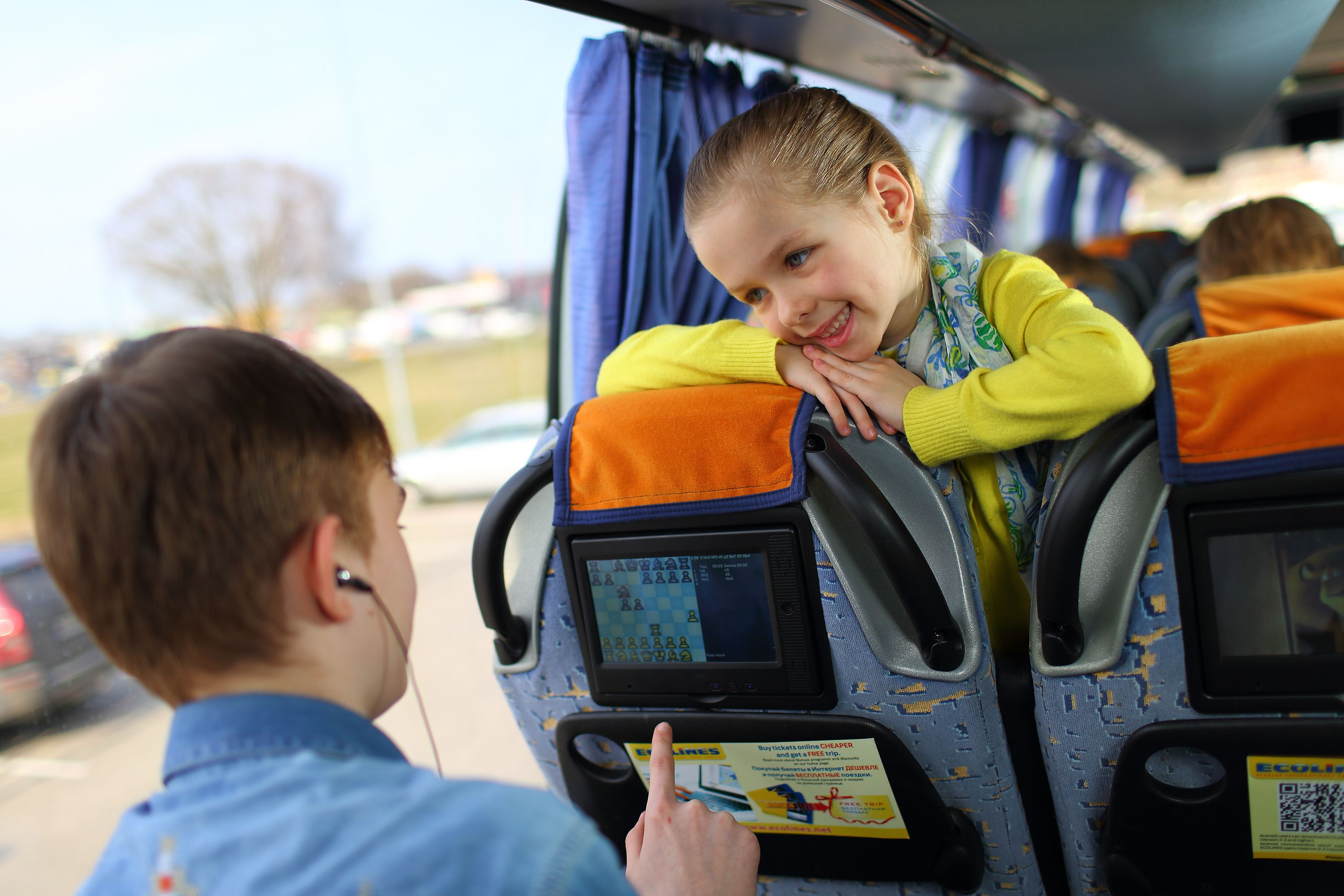 Touch screen devices in #ECOLINES buses. | New movies to