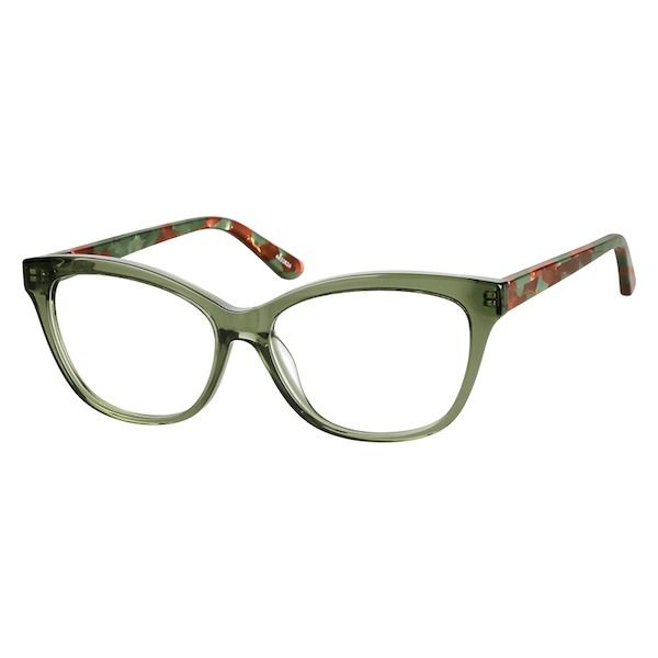 8e409f77ed65e Zenni Womens Cat-Eye Prescription Eyeglasses Green Tortoiseshell Plastic  4433824