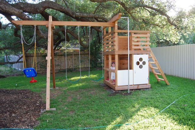Play structure, DIY swingset | Backyard, Backyard play ...