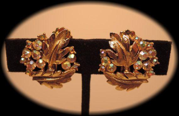 Gold Tone Leaves and Aurora Borealis Rhinestone by thejeweledbear, $10.00