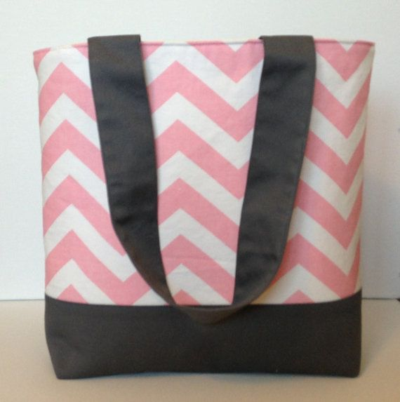 Bubble Gum Pink and White Chevron Tote by WrapItUpByG on Etsy, $32.00