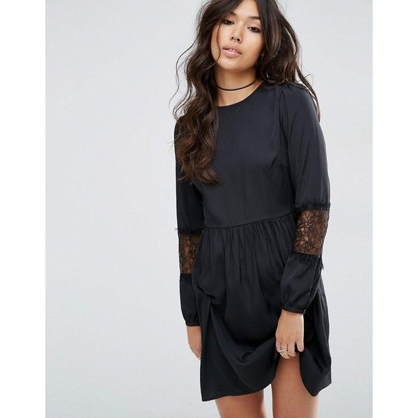 ASOS Long Sleeve Mini Dress With Lace Insert ($43) ❤ liked on Polyvore featuring dresses, black, round neck dress, lace insert dress, long-sleeve mini dress, braid dress and lace panel dress