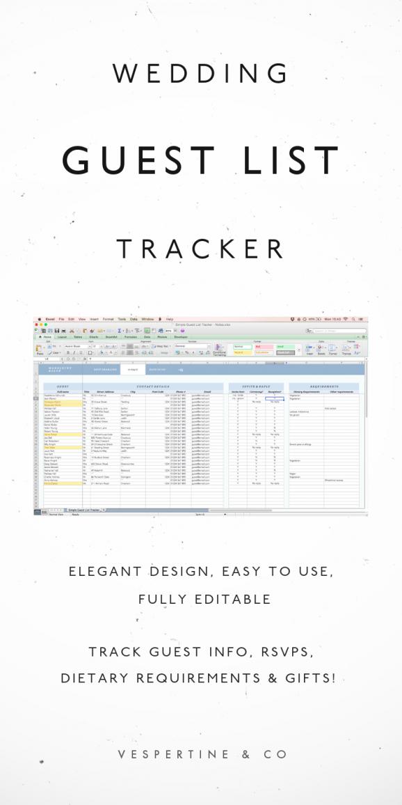 wedding guest list tracker guest list excel spreadsheet