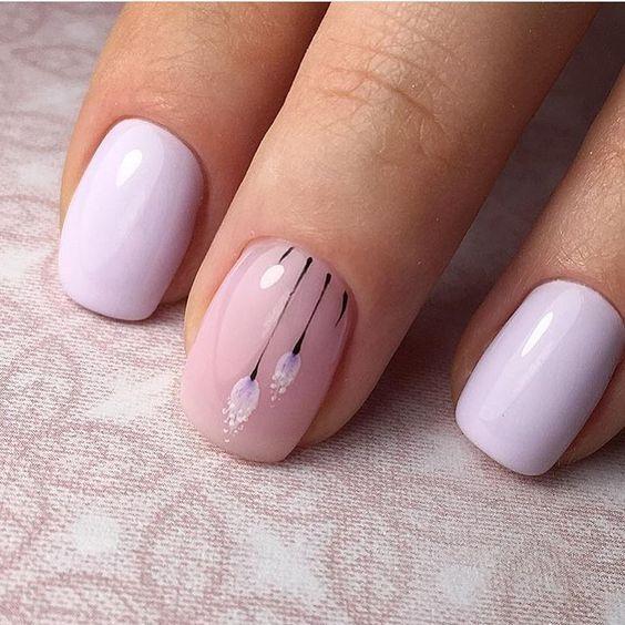April nails, Delicate nails, Delicate spring nails, flower nail art, Nails  under a lilac dress, Pale liliac nails, Purple nails, Spring designs for  nails - Nail Art #2854 - Best Nail Art Designs Gallery Nails Pinterest