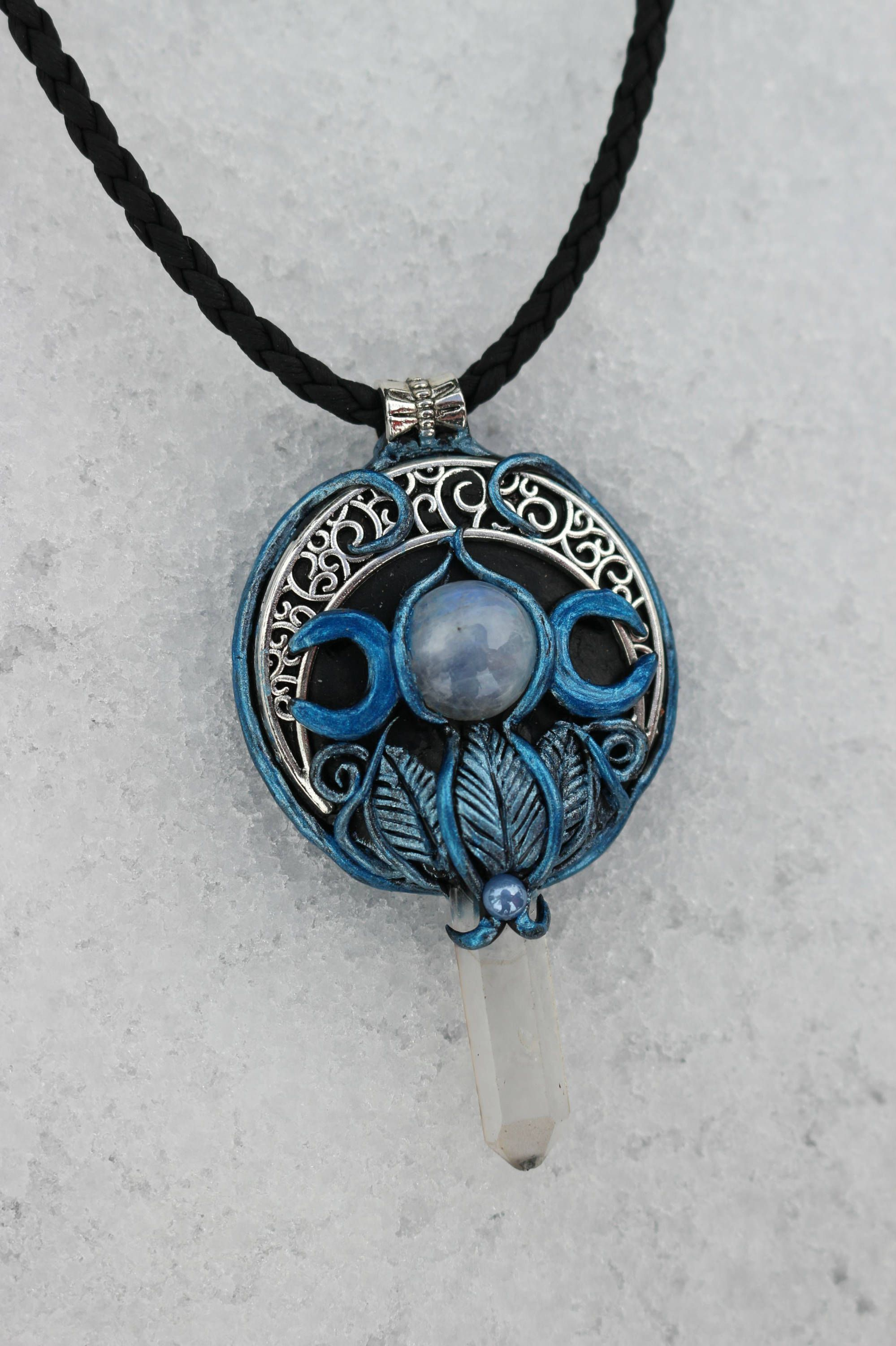 goddess via haven road pin etsy crow triple hecate moon necklace by