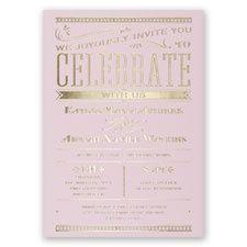 Big News - Pink - Foil Invitation