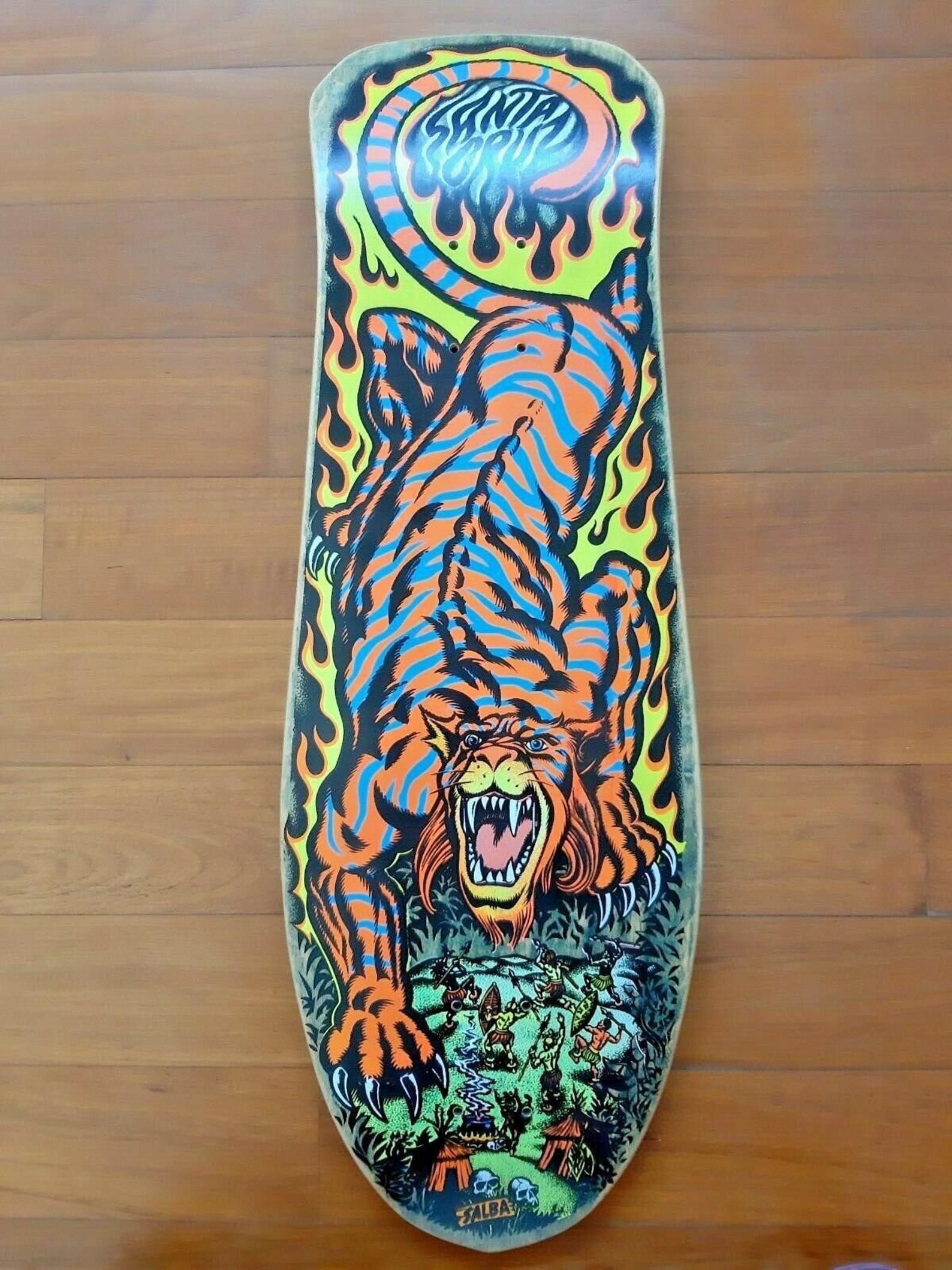 "4/""  Santa Cruz Salba Tiger Alba Skateboard Sticker Old School Skate Surf New"