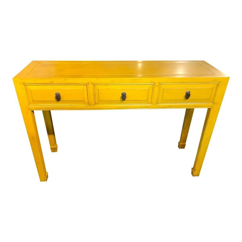 Asian Style Yellow 3 Drawer Console Table Console Table Asian