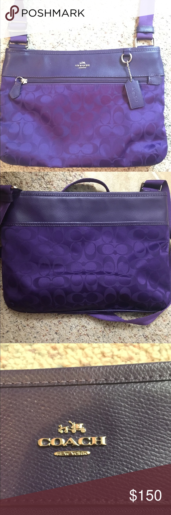 Beautiful Dark Purple Satchel Coach Purse Perfect condition. I bought this purse but ended up never using it. Please make offers. I'm willing to negotiate!  Coach Bags Satchels
