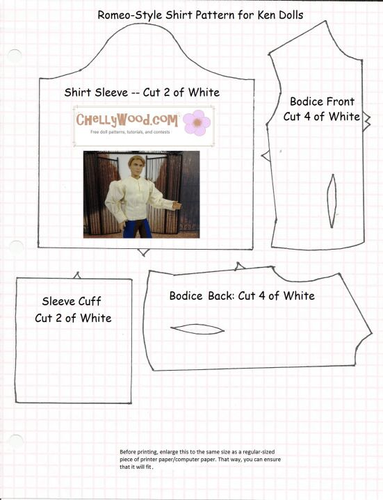 Image of a sewing pattern with Ken doll superimposed, wearing a ...