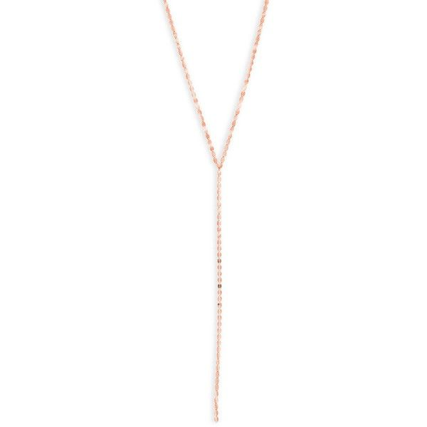 LANA JEWELRY Long Nude 14K Rose Gold Lariat Necklace 895 liked