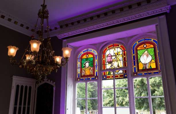 Stained glass at the back of The Orchid Room -